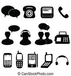 telefon, és, kommunikáció, ikonok