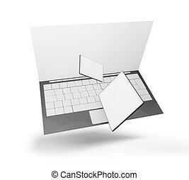 telefon, 3d-illustration, edv, tablette