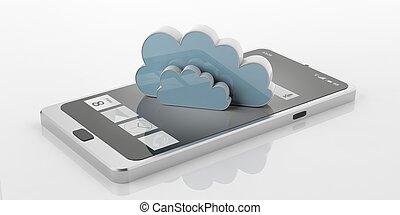 telefon, 3d, wolke, klug, übertragung