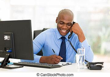 telefon, afrykanin, landline, biznesmen, mówiąc