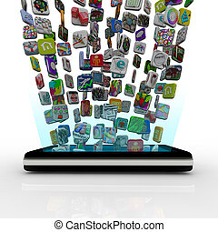 telefon, app, spodní zakládání, bystrý, ikona