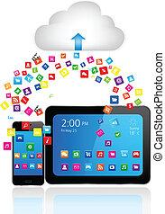 telefon, apps, klug, tablette pc