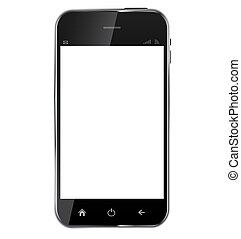 telefon, background..vector, leer, abstrakt, freigestellt, schirm, weißes, realistisch, design, abbildung, beweglich