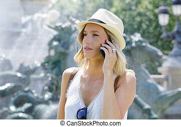 telefon, beszéd, nő