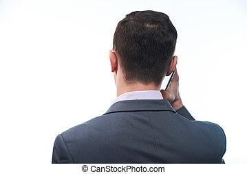telefon, beszél, furfangos, ember