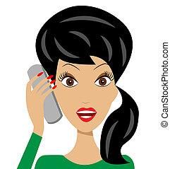 telefon, beszél, nő