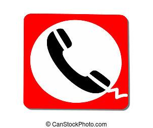 telefon, biały, odizolowany, tło, znak
