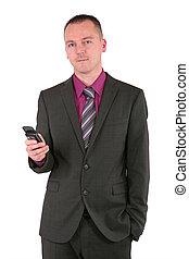 telefon, biznesmen, młody, mądry, używając