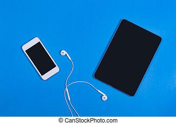 telefon, blauer hintergrund, tablette, weißes, schwarz