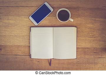 telefon, bohnenkaffee, notizbuch