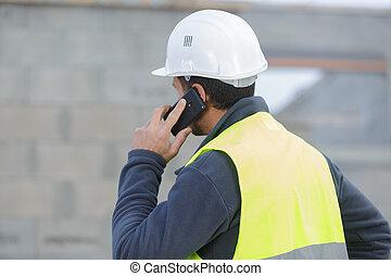 telefon, budowlaniec, mówiąc