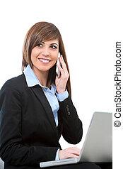 telefon, buseness, frau, laptop., sprechende