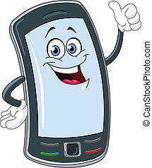 telefon, cartoon, raffineret