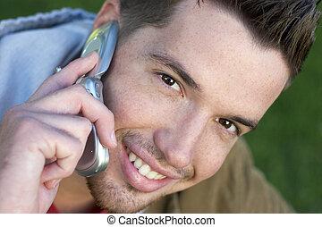 telefon, chłopiec