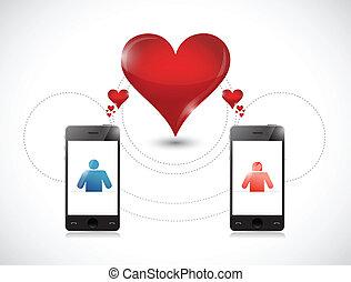 telefon, concept., grafik, datieren, online