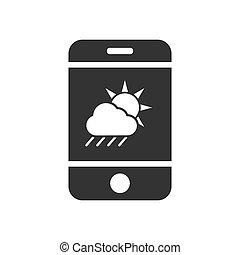 telefon, częściowo pochmurny, ikona, prosty, ruchomy, wektor...