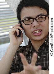 telefon, człowiek, asian, mówiąc