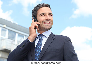 telefon, człowiek, garnitur