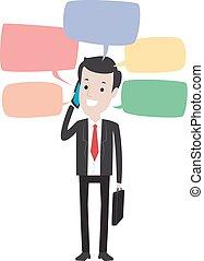 telefon, człowiek, handlowy, mówiąc