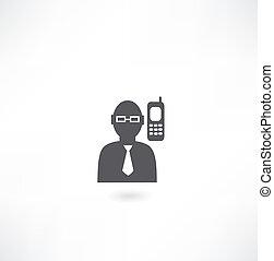 telefon, człowiek, ikona, mówiąc