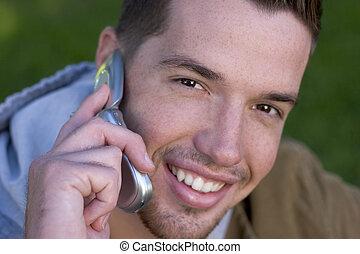 telefon, człowiek
