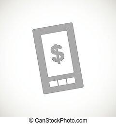 telefon, czarnoskóry, dolar, ikona