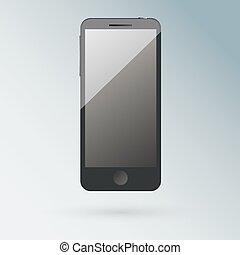 telefon, czarnoskóry, okienko osłaniają, realistyczny, ruchomy