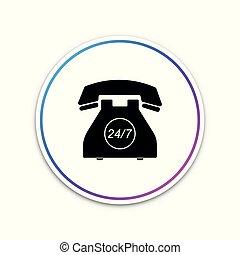 telefon, dagar, öppna, 24, service, stöd, isolerat, dag, bakgrund., 7, cirkel, fyllda, illustration, hour., timmar, vit, ikon, kund, week., call-center., button., vektor, all-day