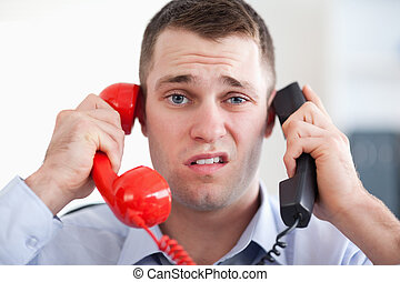 telefon, do góry szczelnie, wydłużony