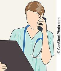 telefon, doktor, stetoskop, wykres, &