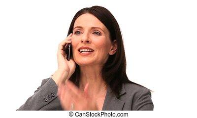 telefon, dostając, handlowy, nerwowy, kobieta