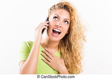 telefon, dziewczyna, podniecony, mówiąc