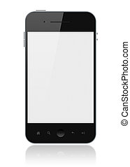telefon, ekran, odizolowany, mądry, czysty