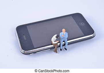 telefon, emberek, csoport, ül