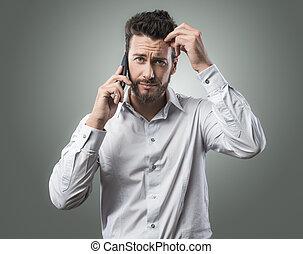 telefon, enttäuscht, mann