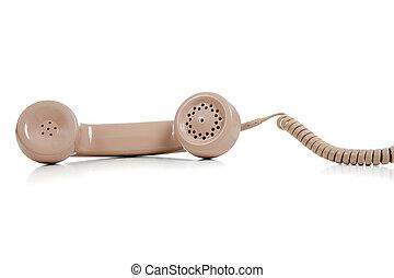 telefon, fehér, beige háttér, telefonkagyló