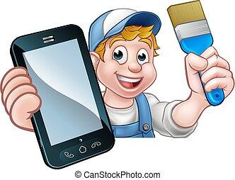 telefon, fogalom, ezermester, szobafestő, festő
