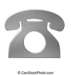 telefon, freigestellt, grau