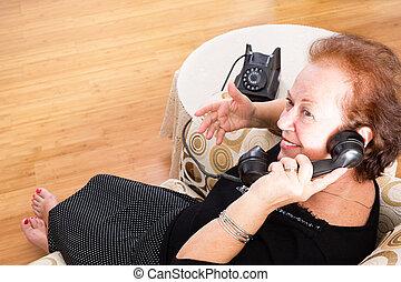 telefon, gammal, roterande, prata, farmor