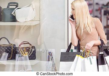telefon, gebrauch, shoppen