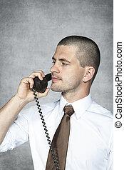 telefon, geschäftsmann, ernst, sprechende