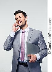 telefon, geschäftsmann, glücklich, sprechende