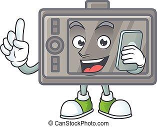 telefon, glade, billede, wacom, tal