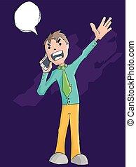 telefon, gniewny, wrzaskliwy, handlowiec