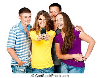 telefon, grupa, młodzież
