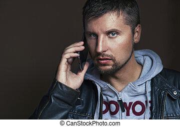 telefon, hübsch, mann