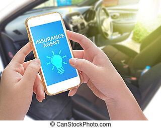 telefon, halten hand, wort, verwischen, hintergrund, inneneinrichtung, online, beweglich, digital, begriff, auto, geschaeftswelt, agent, versicherung