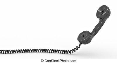 telefon, hvid, isoleret, baggrund, reciever