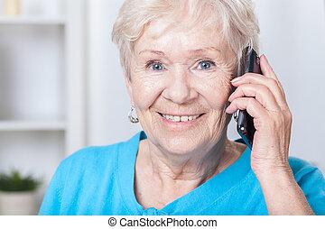 telefon, idősebb ember, hölgy, sejtekből álló, beszéd