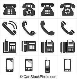 telefon, ikon, smartphon, klassisk